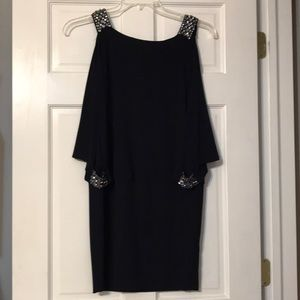 Navy Blue Cocktail Dress w/ Rhinestone Detailing